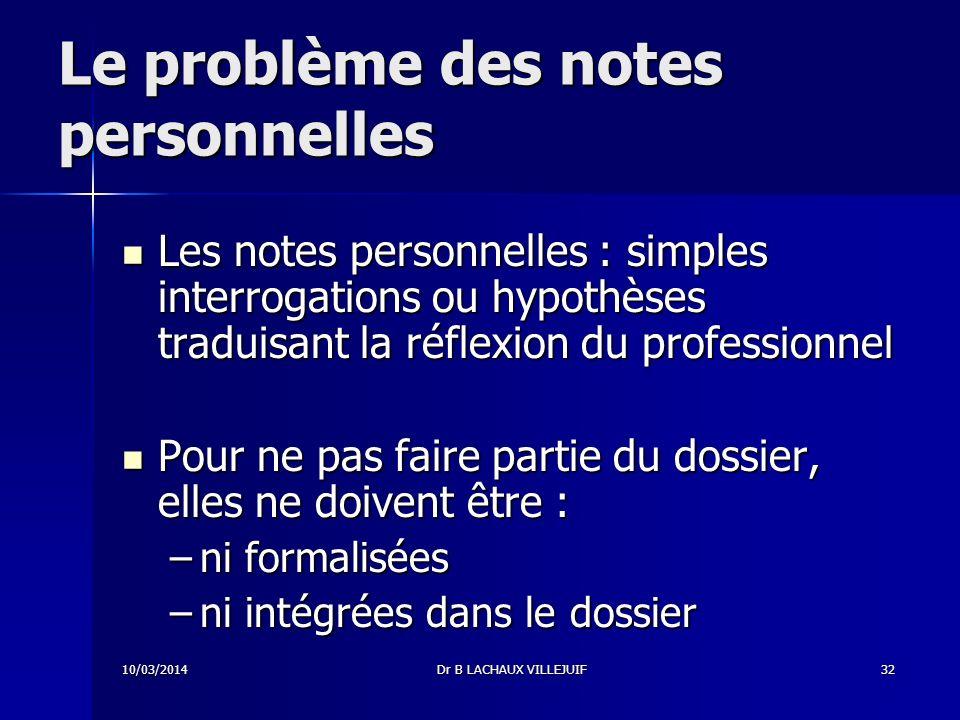 Le problème des notes personnelles