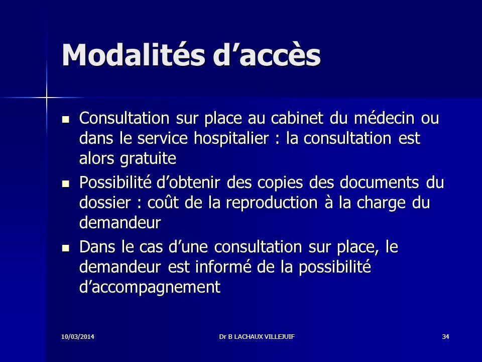 Modalités d'accès Consultation sur place au cabinet du médecin ou dans le service hospitalier : la consultation est alors gratuite.