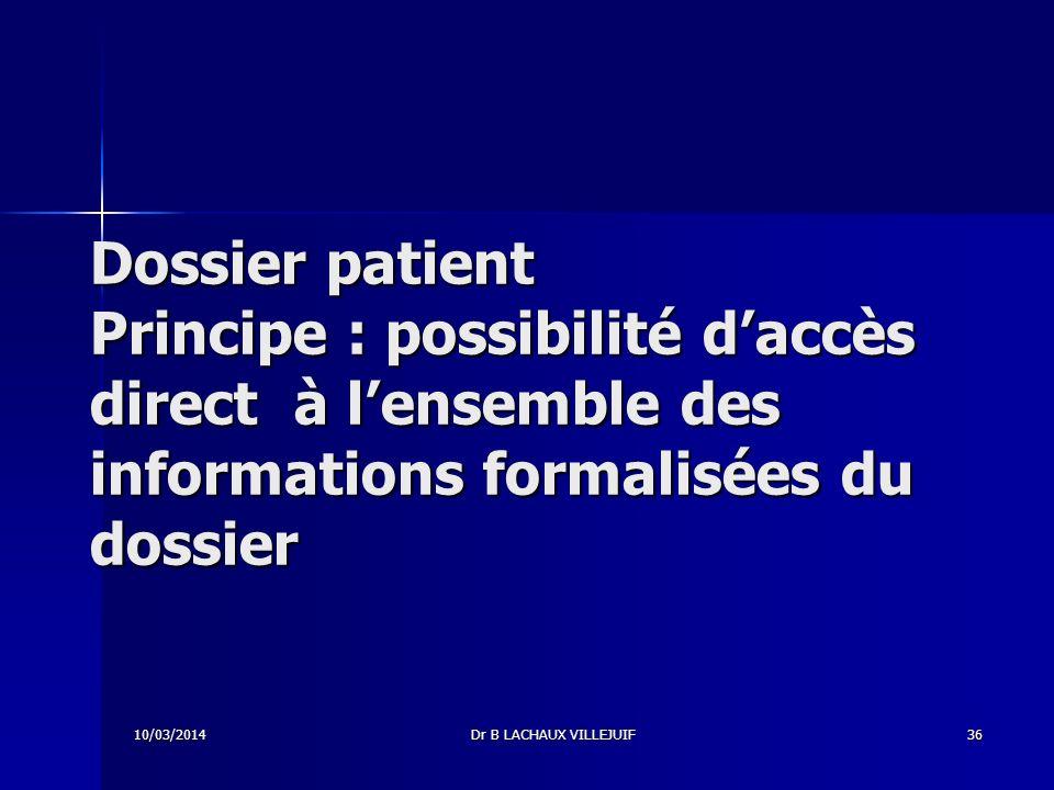 Dossier patient Principe : possibilité d'accès direct à l'ensemble des informations formalisées du dossier