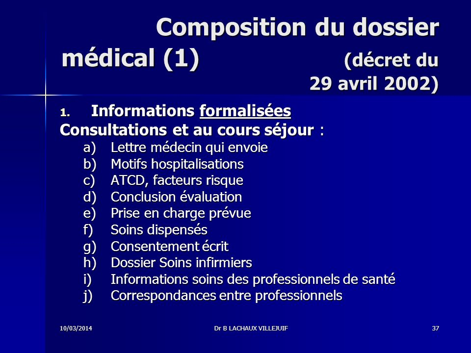 Composition du dossier médical (1) (décret du 29 avril 2002)
