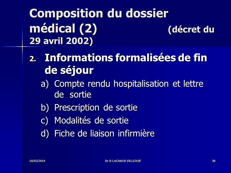 Composition du dossier médical (2) (décret du 29 avril 2002)