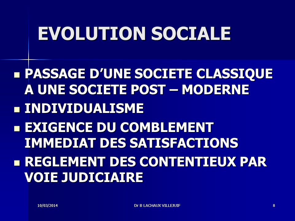 EVOLUTION SOCIALE PASSAGE D'UNE SOCIETE CLASSIQUE A UNE SOCIETE POST – MODERNE. INDIVIDUALISME. EXIGENCE DU COMBLEMENT IMMEDIAT DES SATISFACTIONS.