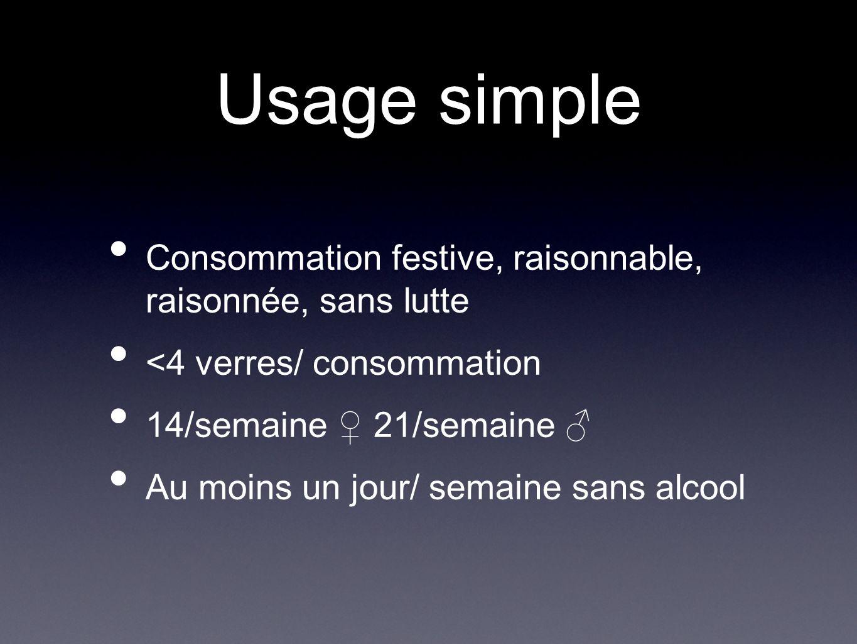 Usage simple Consommation festive, raisonnable, raisonnée, sans lutte