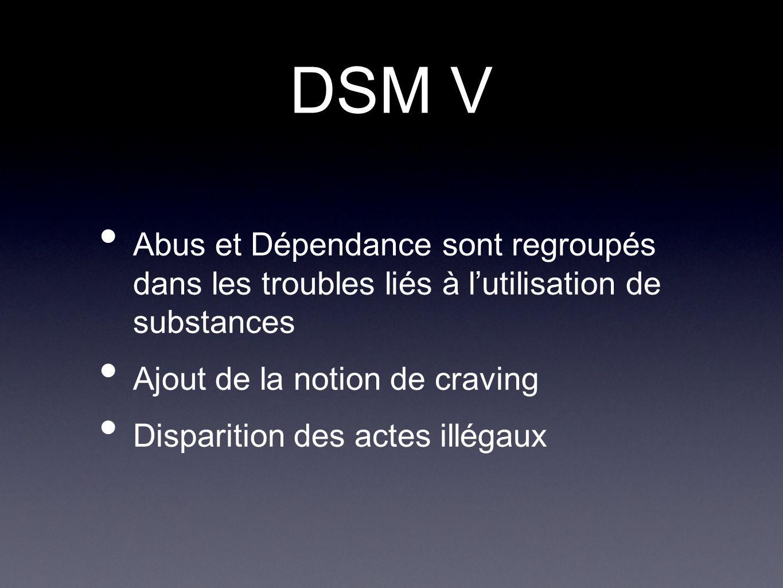 DSM V Abus et Dépendance sont regroupés dans les troubles liés à l'utilisation de substances. Ajout de la notion de craving.