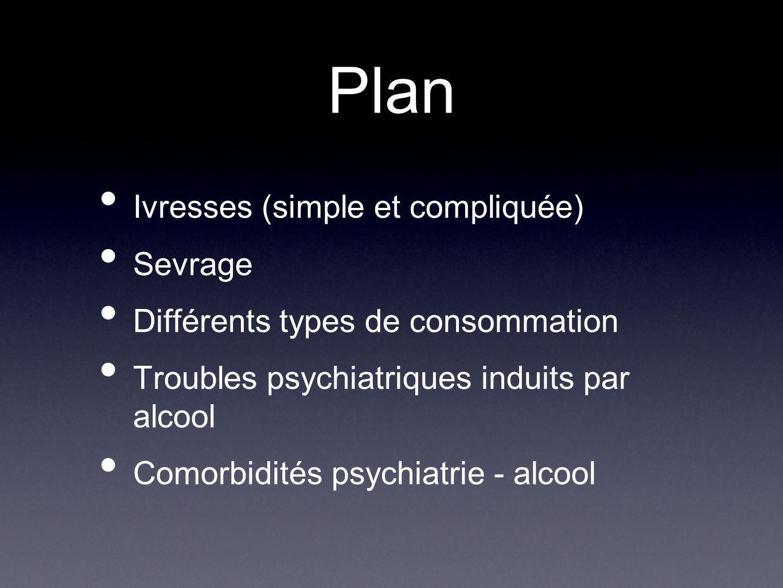 Plan Ivresses (simple et compliquée) Sevrage