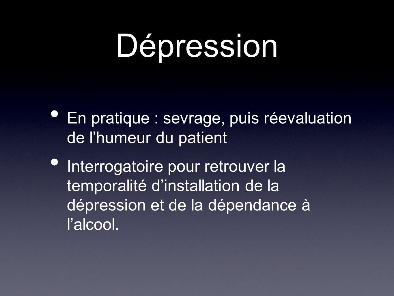 Dépression En pratique : sevrage, puis réevaluation de l'humeur du patient.