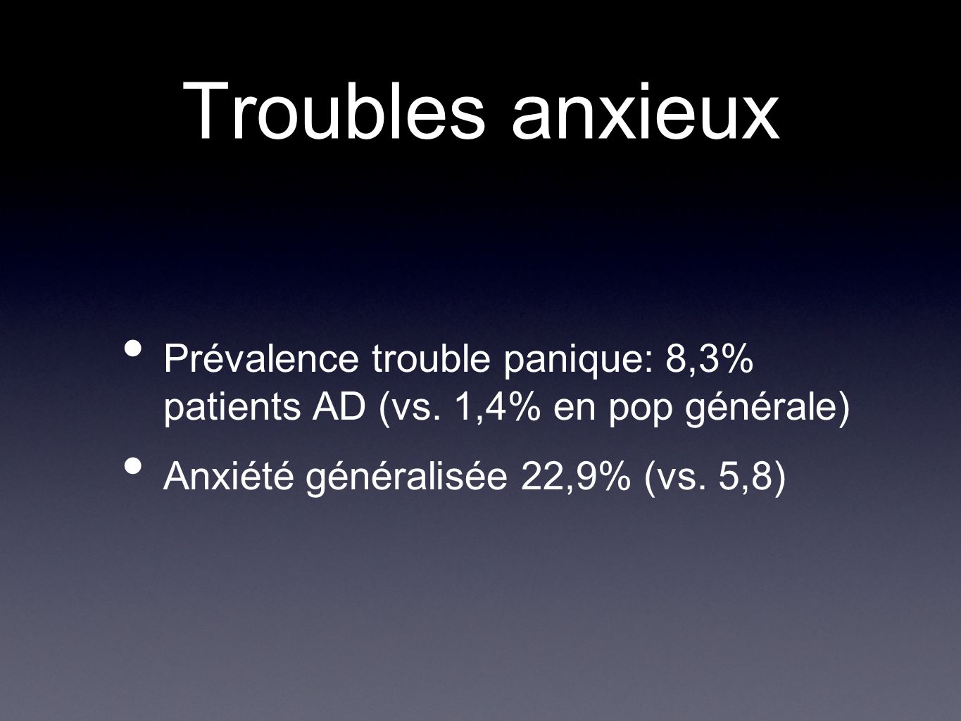 Troubles anxieux Prévalence trouble panique: 8,3% patients AD (vs.