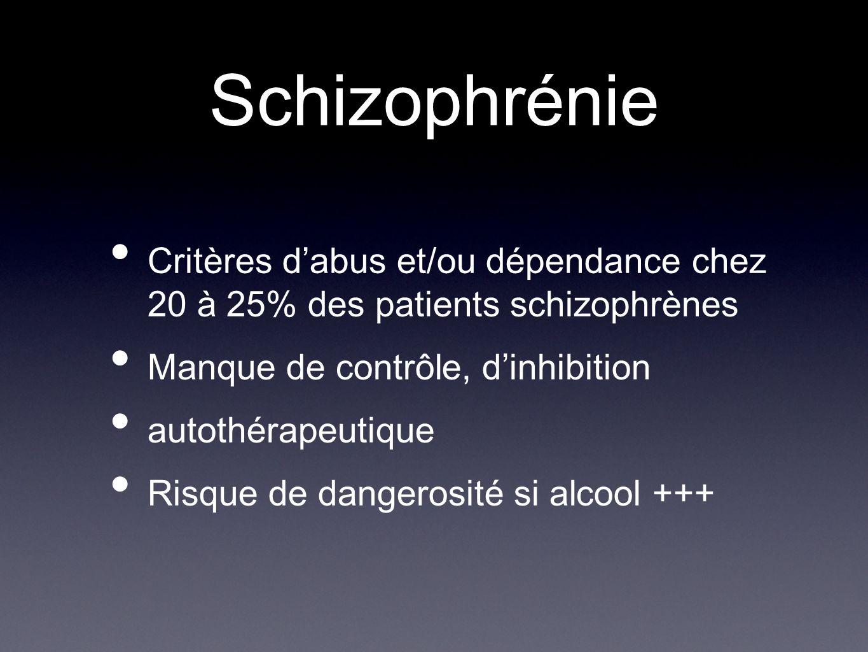 Schizophrénie Critères d'abus et/ou dépendance chez 20 à 25% des patients schizophrènes. Manque de contrôle, d'inhibition.