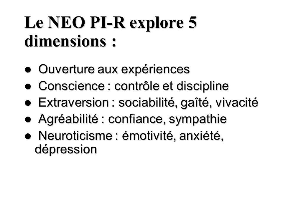 Le NEO PI-R explore 5 dimensions :