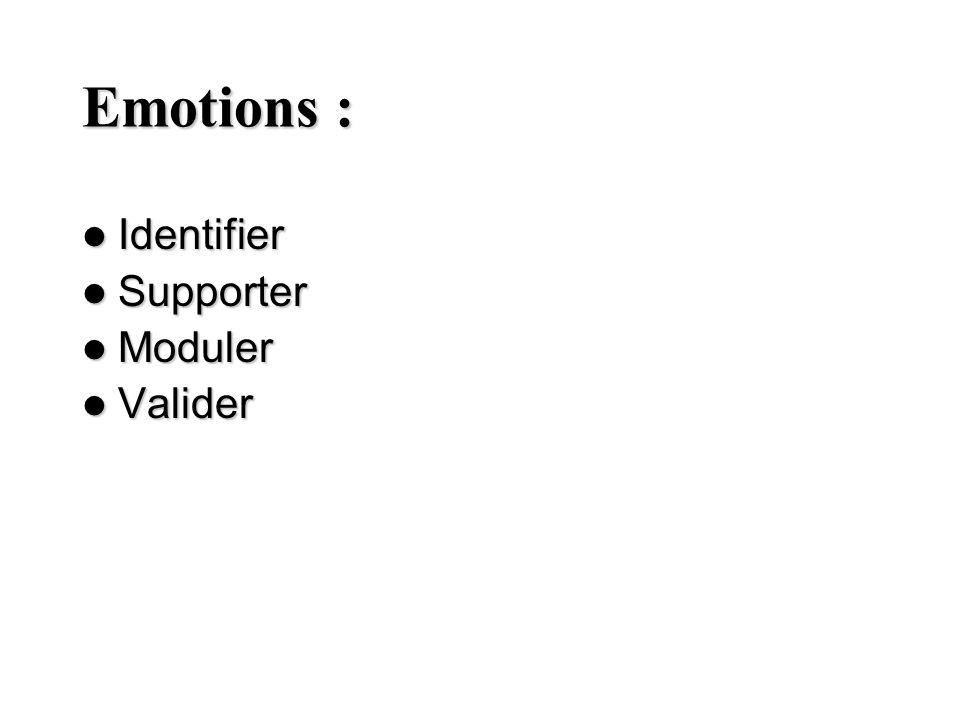 Emotions : Identifier Supporter Moduler Valider