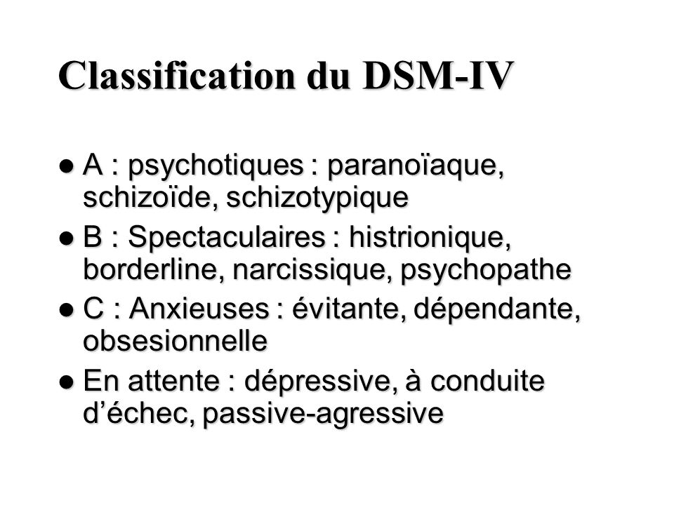 Classification du DSM-IV