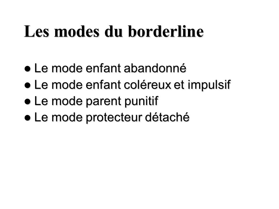 Les modes du borderline