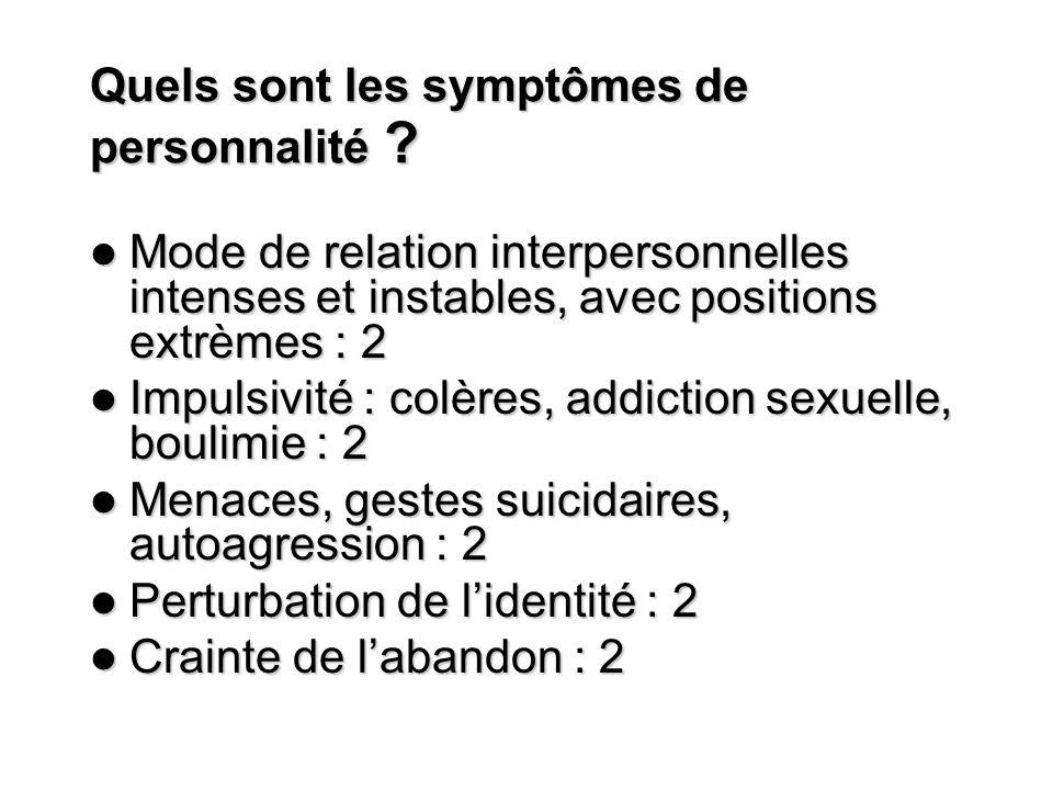 Quels sont les symptômes de personnalité