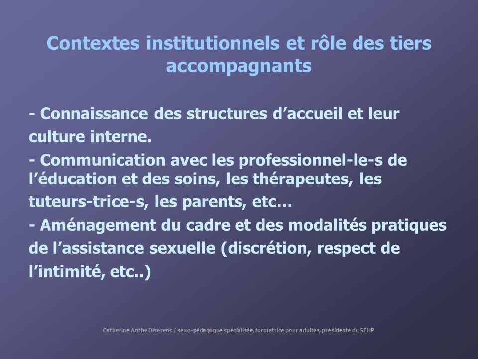 Contextes institutionnels et rôle des tiers accompagnants