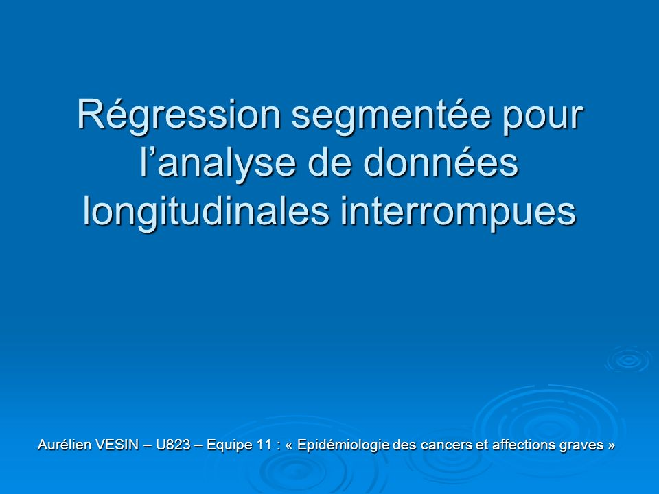 Régression segmentée pour l'analyse de données longitudinales interrompues