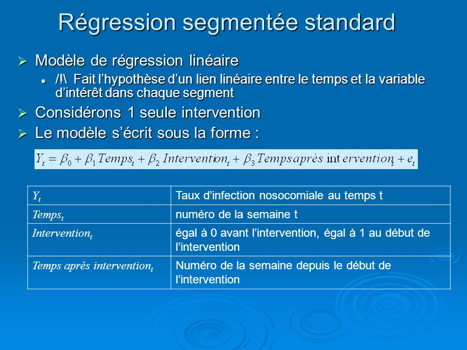 Régression segmentée standard
