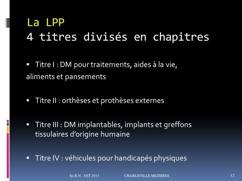 La LPP 4 titres divisés en chapitres