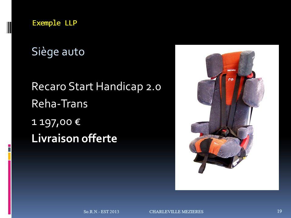 Exemple LLP Siège auto Recaro Start Handicap 2.0 Reha-Trans 1 197,00 € Livraison offerte