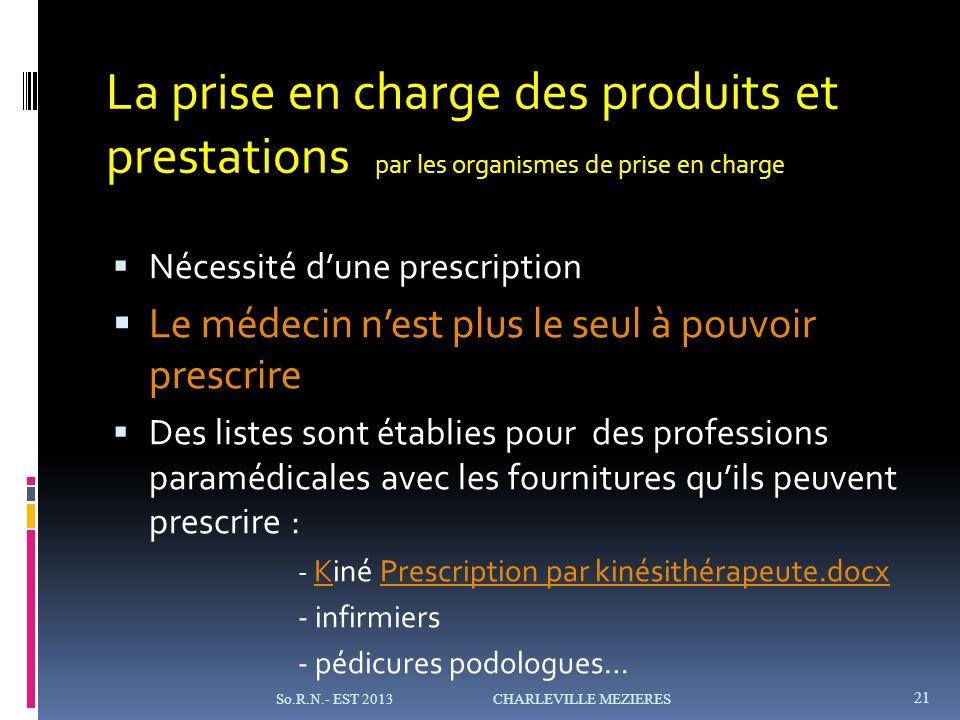 La prise en charge des produits et prestations par les organismes de prise en charge