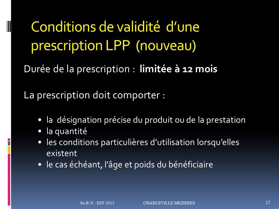Conditions de validité d'une prescription LPP (nouveau)