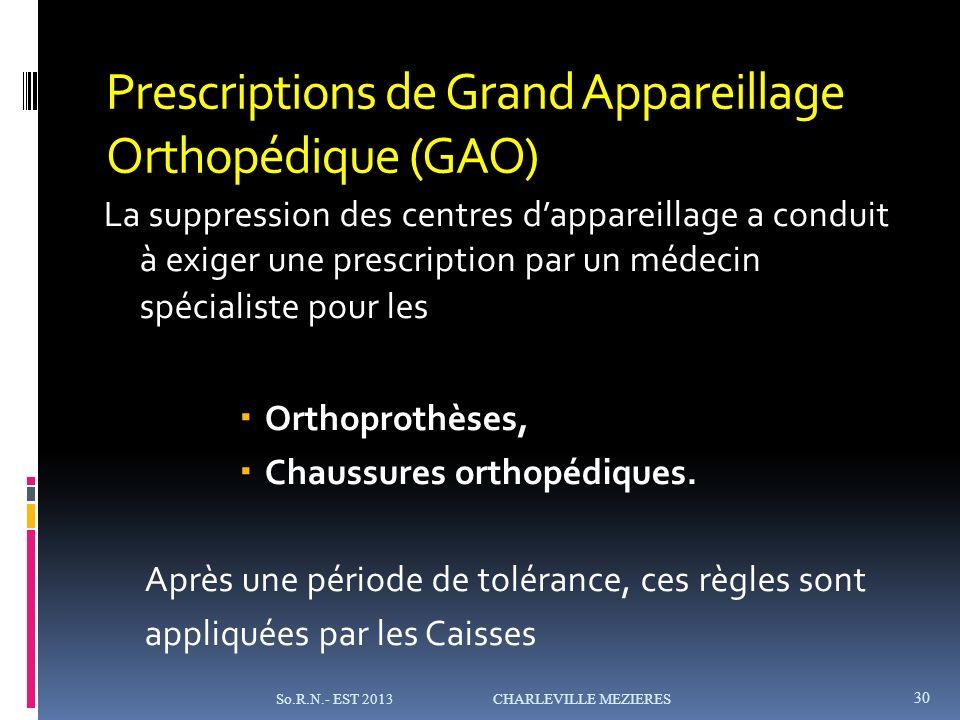 Prescriptions de Grand Appareillage Orthopédique (GAO)