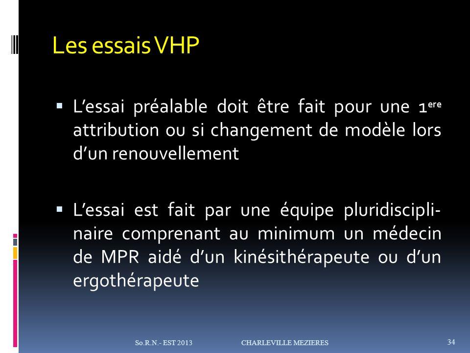Les essais VHP L'essai préalable doit être fait pour une 1ere attribution ou si changement de modèle lors d'un renouvellement.