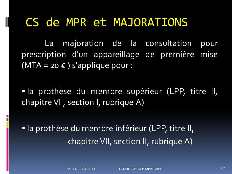 CS de MPR et MAJORATIONS