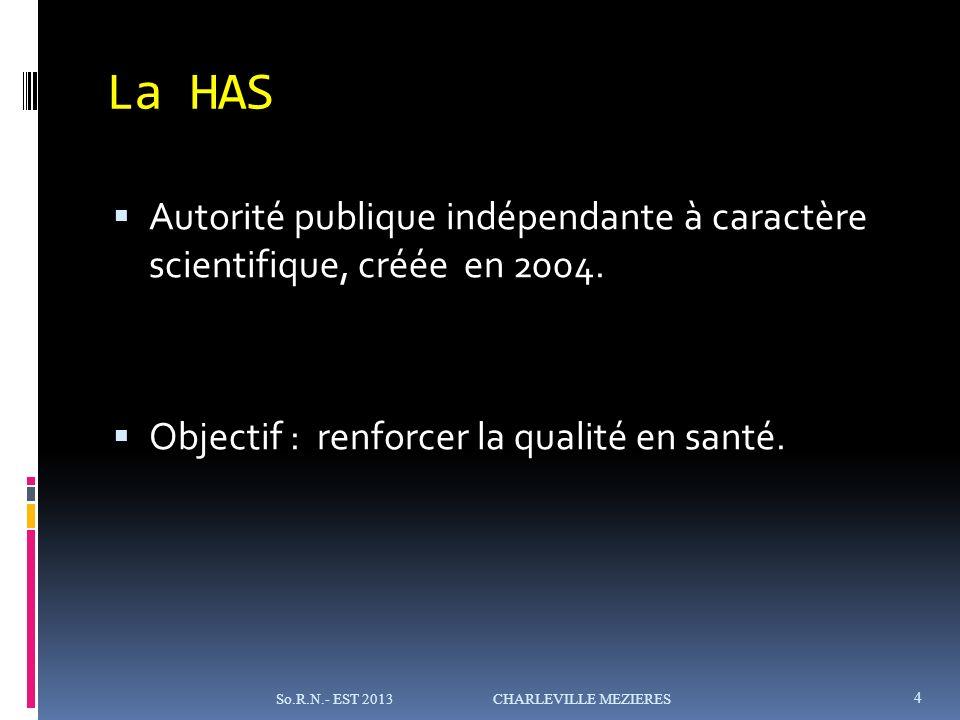 La HAS Autorité publique indépendante à caractère scientifique, créée en 2004. Objectif : renforcer la qualité en santé.