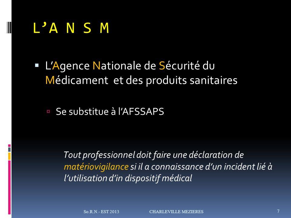 L'A N S M L'Agence Nationale de Sécurité du Médicament et des produits sanitaires. Se substitue à l'AFSSAPS.