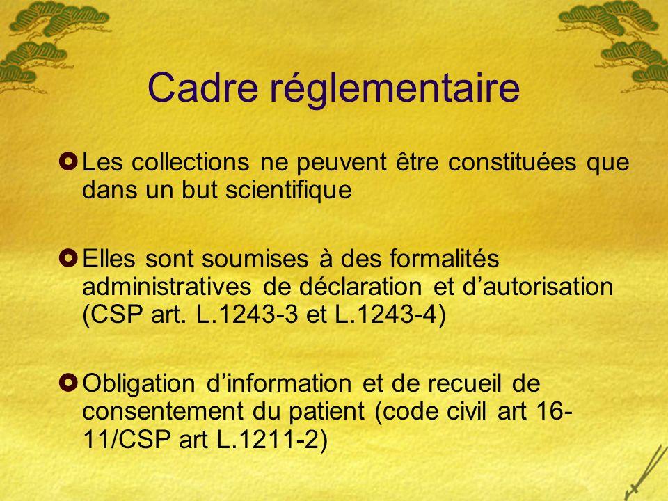 Cadre réglementaire Les collections ne peuvent être constituées que dans un but scientifique.