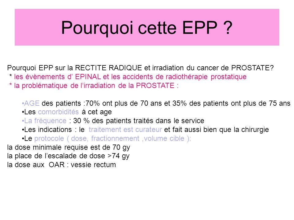 Pourquoi cette EPP Pourquoi EPP sur la RECTITE RADIQUE et irradiation du cancer de PROSTATE