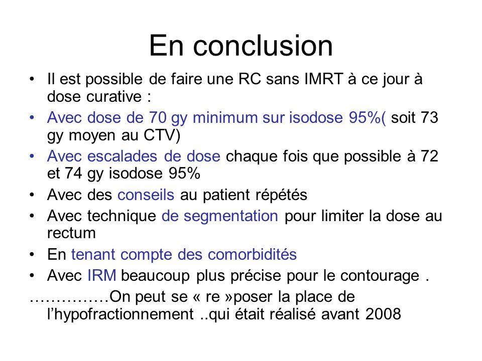 En conclusion Il est possible de faire une RC sans IMRT à ce jour à dose curative :