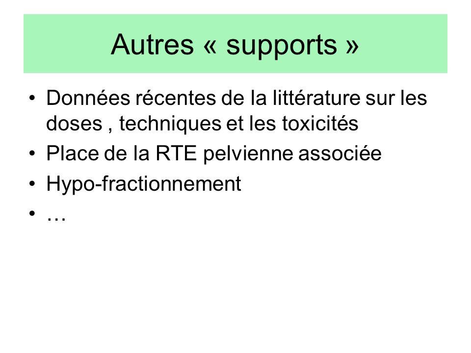 Autres « supports » Données récentes de la littérature sur les doses , techniques et les toxicités.