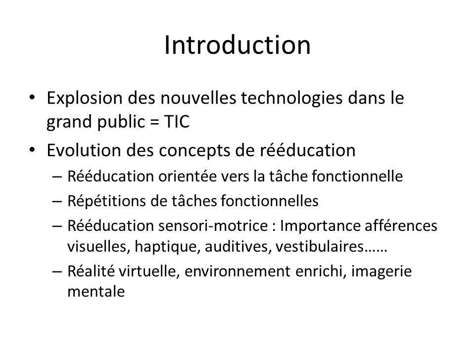 Introduction Explosion des nouvelles technologies dans le grand public = TIC. Evolution des concepts de rééducation.
