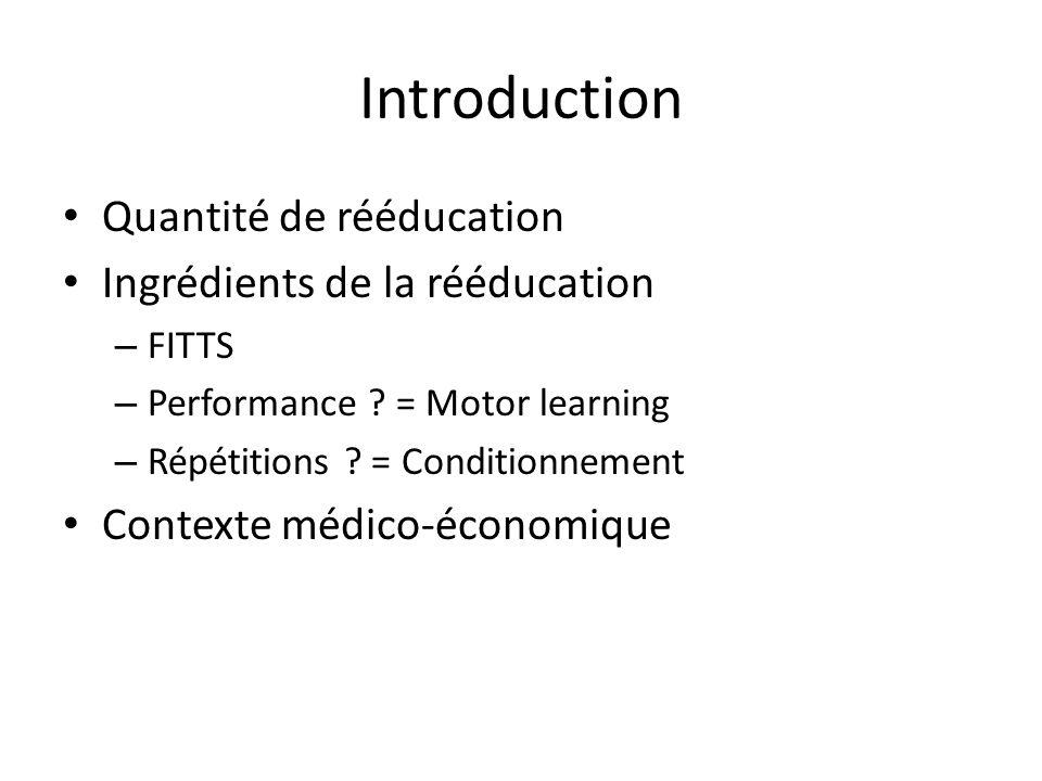 Introduction Quantité de rééducation Ingrédients de la rééducation