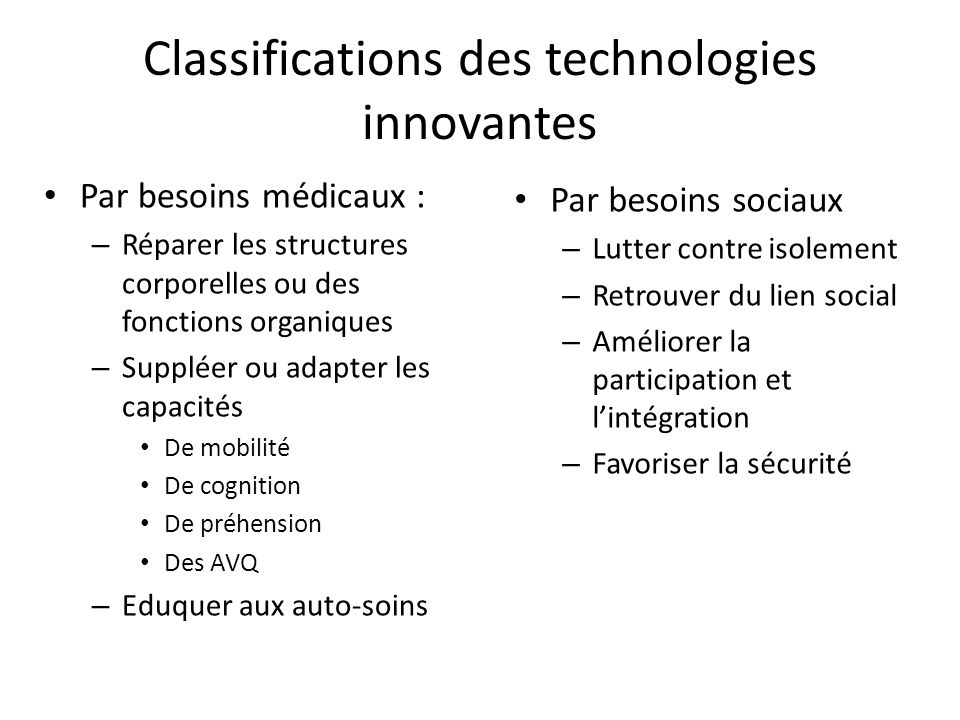 Classifications des technologies innovantes