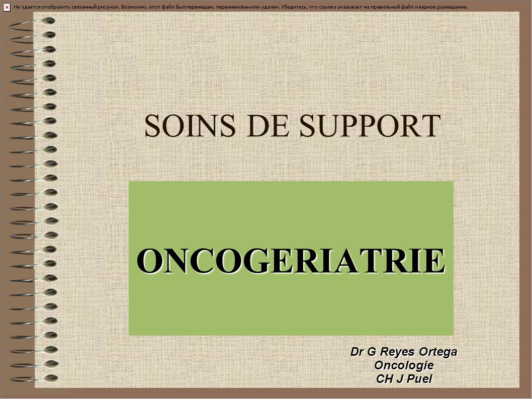 SOINS DE SUPPORT ONCOGERIATRIE Dr G Reyes Ortega Oncologie CH J Puel
