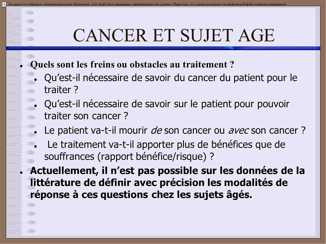 CANCER ET SUJET AGE Quels sont les freins ou obstacles au traitement