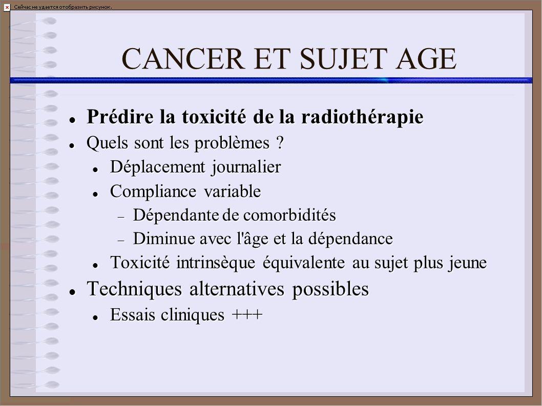CANCER ET SUJET AGE Prédire la toxicité de la radiothérapie