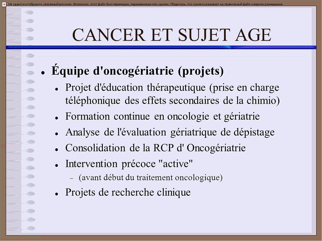 CANCER ET SUJET AGE Équipe d oncogériatrie (projets)
