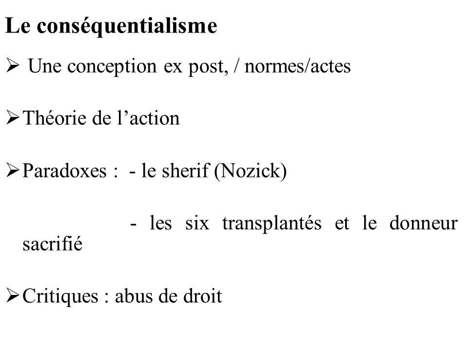 Le conséquentialisme Une conception ex post, / normes/actes