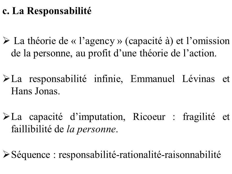 c. La Responsabilité La théorie de « l'agency » (capacité à) et l'omission de la personne, au profit d'une théorie de l'action.