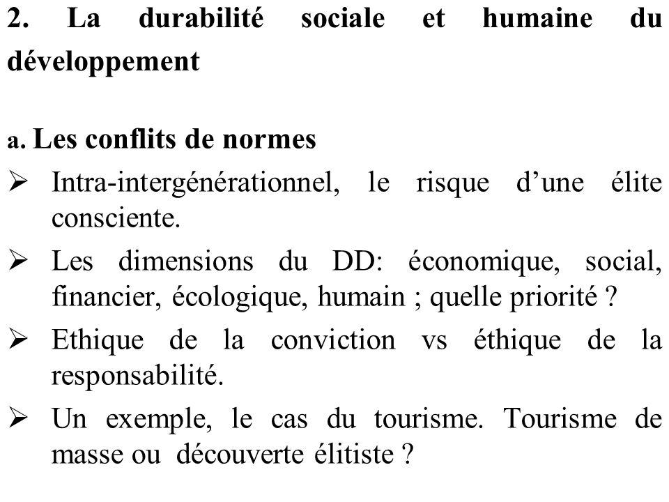 2. La durabilité sociale et humaine du développement