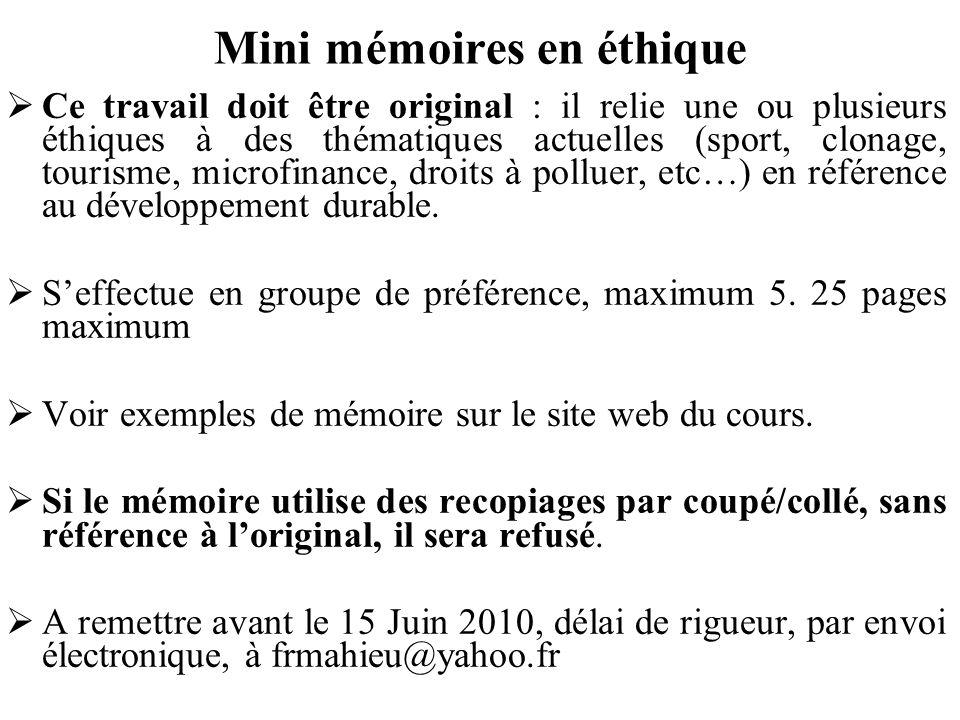 Mini mémoires en éthique