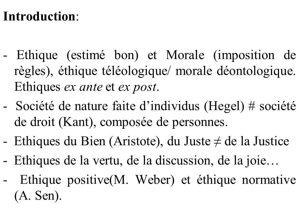 Introduction: - Ethique (estimé bon) et Morale (imposition de règles), éthique téléologique/ morale déontologique. Ethiques ex ante et ex post.