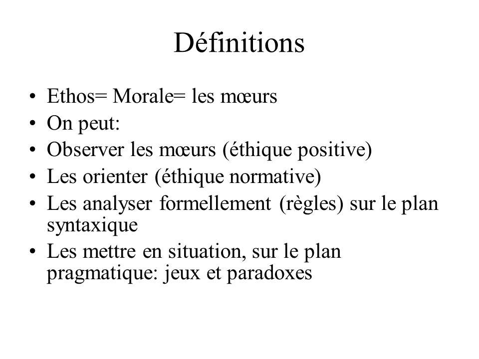 Définitions Ethos= Morale= les mœurs On peut:
