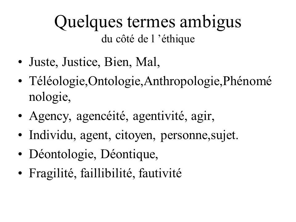 Quelques termes ambigus du côté de l 'éthique