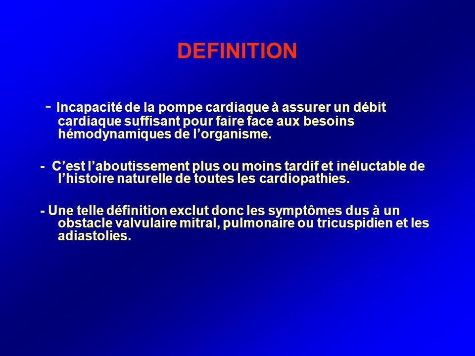 DEFINITION - Incapacité de la pompe cardiaque à assurer un débit cardiaque suffisant pour faire face aux besoins hémodynamiques de l'organisme.