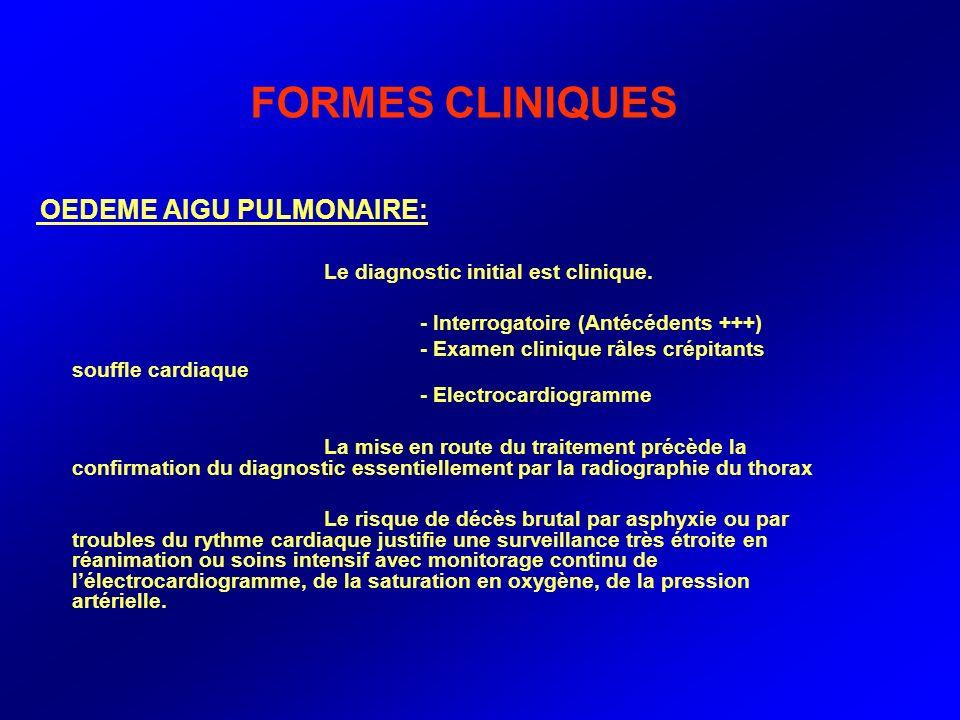 FORMES CLINIQUES Le diagnostic initial est clinique.