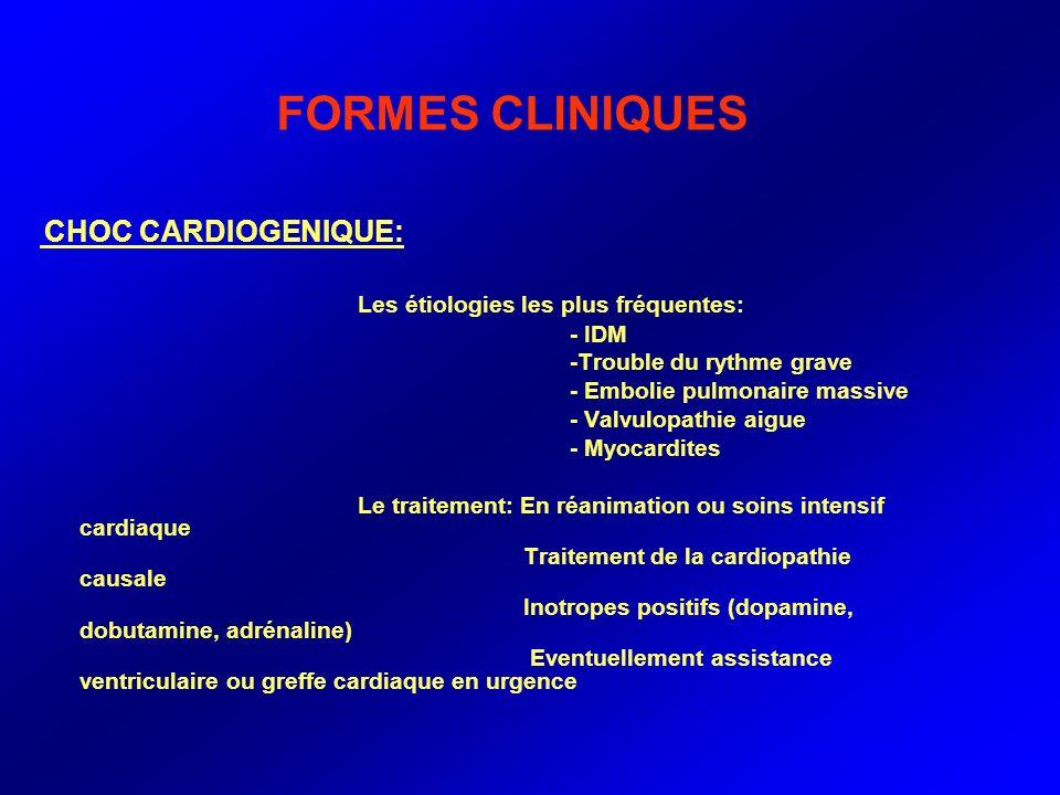 FORMES CLINIQUES Les étiologies les plus fréquentes: - IDM